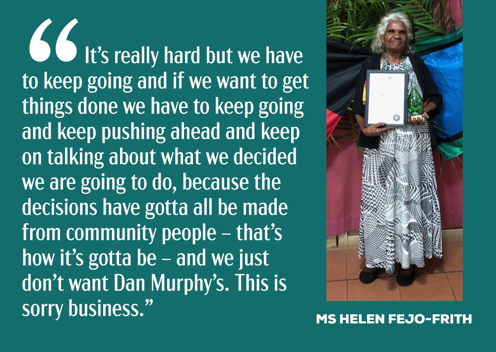 Bagot Community spokesperson, Ms Helen Fejo-Frith has lived at Bagot for 21 years. She represents her community in opposing the development.