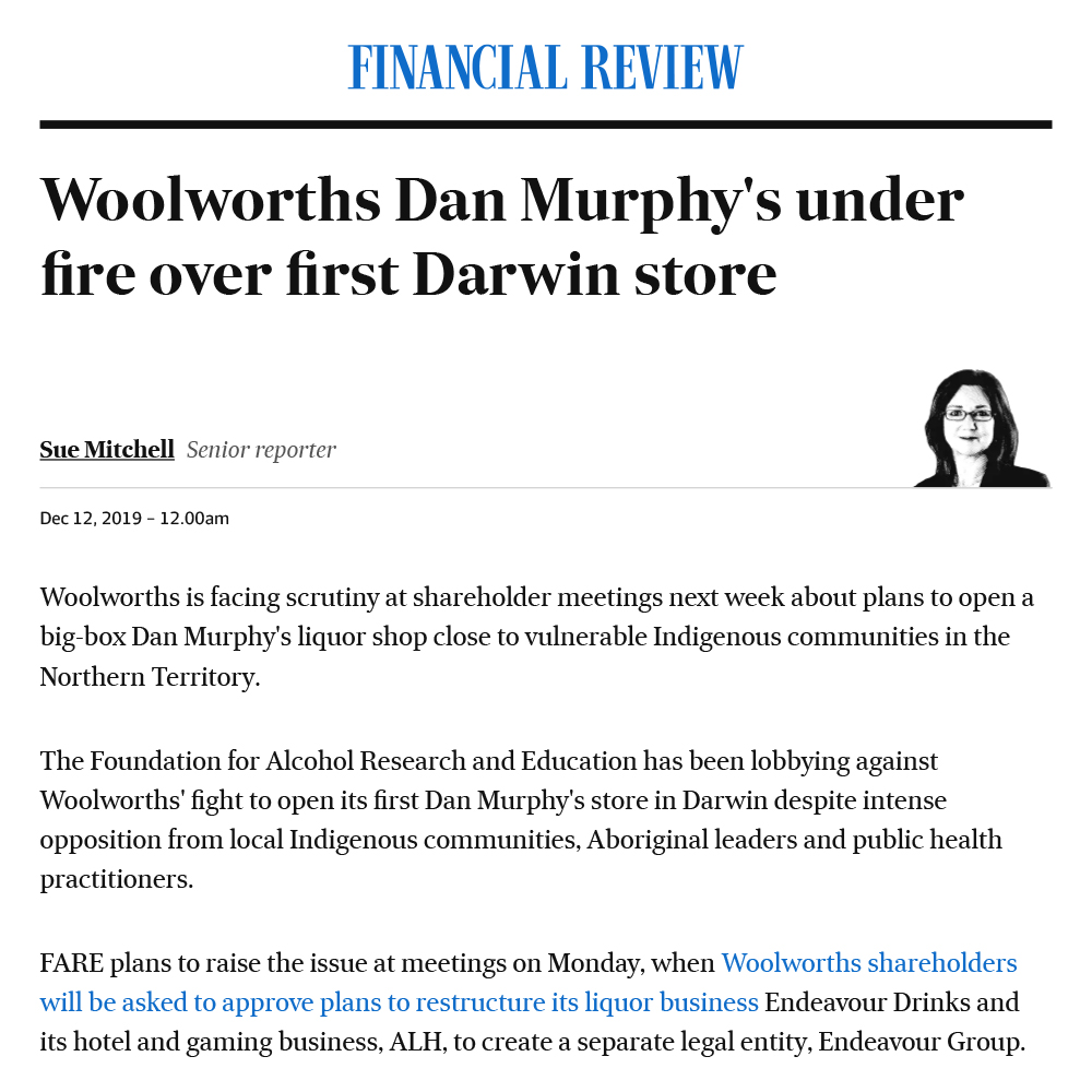 News: Woolworths Dan Murphy's under fire over first Darwin store